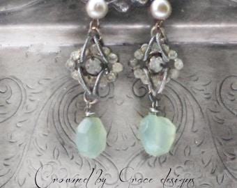 Regency Drops ~ vintage assemblage earrings, moss green, rhinestones, pearls, crowned by grace