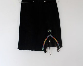 80s black suede skirt with beaded slit and fringe