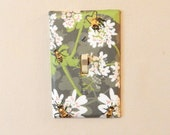 Bees and Cilantro Fabric Covered Single Light Switch Plate