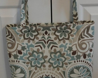 Pale Blue, Teal and Brown Tote