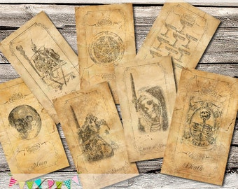 Full Antiqued Gothic Tarot Card Set - 78 cards - Printable - Instant Download