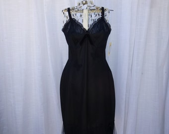 Tutu Dress 32/34 Small Midnight Black Glam Garb Handmade USA Romantic Honeymoon Victorian Slip Steam-Punk Vintage Goth Rockabilly Chic Boho