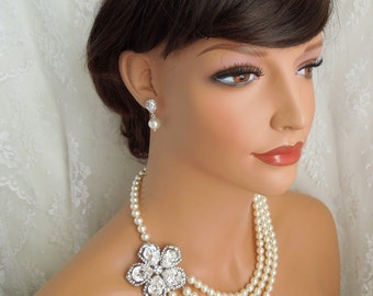 Pearl Necklace Swarovski Pearls necklace Bridal Rhinestone Necklace Statement Bridal Necklace Wedding Pearl Necklace crystal necklace ELODIE