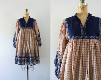 RESERVED | 1970s Road To Evermore indian cotton dress / 70s bohemian beauty