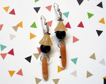 Black and Apricot Earrings (2313)