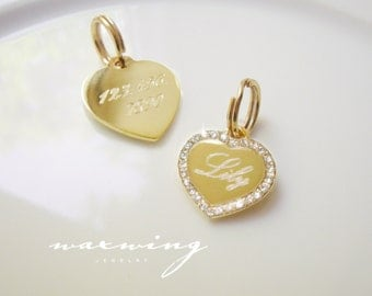 Bling Heart Pet ID Tag Gold Plated or Nickel Chrome Silver Custom Engraved for Your Pet Dog Personalized Size SMALL