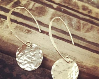 Gold Hammered Disc Earrings No.2 // Gifts For Her // Must Have Everyday Wear Earrings //
