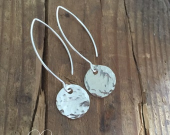 Sterling Silver Hammered Disc Earrings No.2 // Everyday Wear Earrings // Gifts For Her