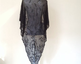 Reserved// French antique Provencal Black Lace SHAWL fringe