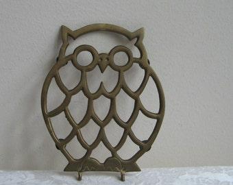 Vintage Brass Owl Trivet Pot Holder Gold Metal, Retro Bohemian Housewares Wall Art