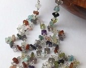 Multi colour necklace, square necklace, lots of colours, square gemstone, lots of gems, wear anytime, sterling silver, modern jewellery