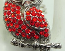 Petite Red Owl Ring/Rhinestone/Holiday Ring/Gift For Her/Fall Jewelry/Bird Jewelry/Adjustable/Under 12 USD