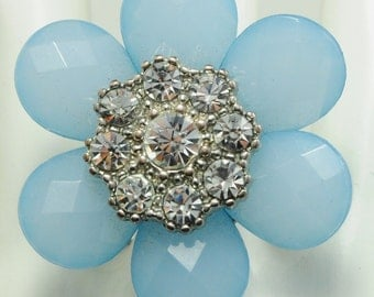 Vintage Blue Flower Ring/Rhinestone/Gift For Her/Statement Ring//Spring/Summer Jewelry/Under20 USD/Adjustable