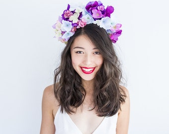 purple pink pastel blue blossom statement flower crown headband // Yeila / enchanted forest wedding headpiece, garden party, spring magic