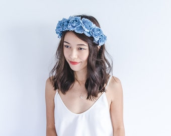 pastel blue Floral rose crown - santa monica, festival crown, woodland, nature, oversize, statement, headband, headpiece.