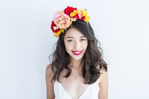 red pink peach yellow statement floral headpiece // Maia / bright bold rose flower crown, engagement, hens night, garden party, spring