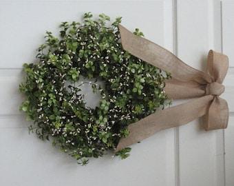 Boxwood Wreath – Door Wreath – All Season Wreath- Boxwood and Berries - Fall Wreath - Summer Wreath - Winter Wreath