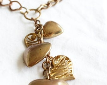 Heart of Gold, French Vintage Gold Heart Charm Statement 1970s Necklace