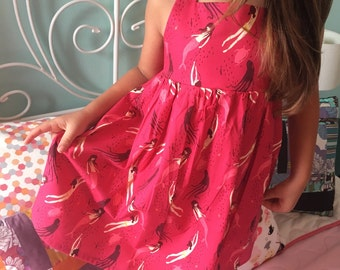 Mermaid Dress Toddler or Girls Ready to Ship Size 3T The Rosie Dress in Mermaid Sisters