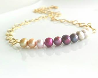 Freshwater Pearl necklace - ombre pink single row genuine multicolor pastels - preppy gradient shaded white cream purple grey peach fuchsia