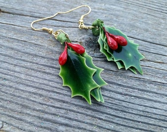 Holly and Berries Handmade Repurposed Christmas Holiday Earrings
