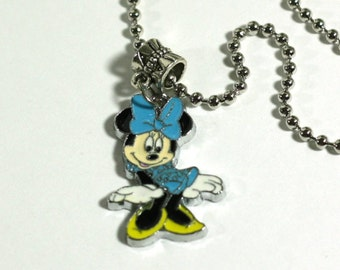 Blue Minne Mouse Charm Pendant Necklace - Kids Jewelry, video game necklace - Girls Gifts