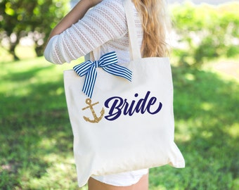 Tote Bags for Bride and Bridesmaids Nautical Wedding Bag - Bridal Party Bags Gift for Bridesmaids Wedding or Bridal Shower (Item - BNB200)