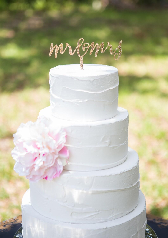 Cake Topper Mr & Mrs Wedding Cake Topper in Glitter