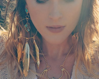 Reserved for Lisa /// MOONLIGHT FEATHERS /// Turquoise Gold Hoops /// Gold Feathers