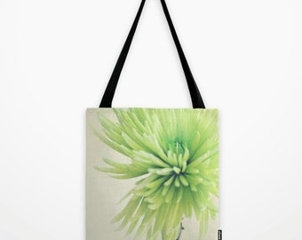 green tote bag, flower tote, farmers market bag, spring fashion, book bag, spider mum print, chrysanthemum photo, girls fashion, shopping