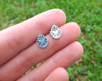 stamped sterling silver stud earrings -  sterling silver metalwork - post earrings