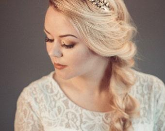 Gold tiara - Gold leaf crown - Gold headband - Bridal tiara - Gold leaf headpiece - Leaf crown - Gold headpiece -Bohemian, woodland