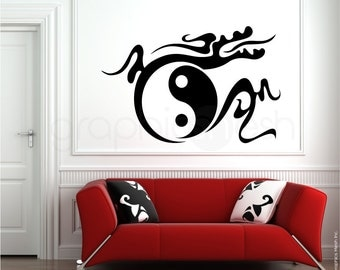 YIN YANG DRAGON wall decals - Chinese Tribal Ying & Yang - Feng Shui interior decor