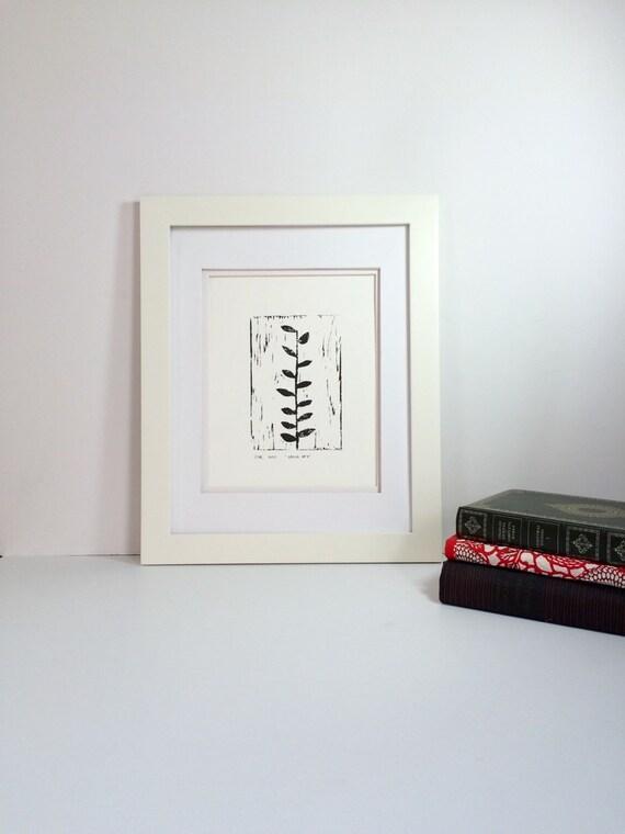 Minimalist Garden Ivy Linocut PRINT Black 9x12 home decor