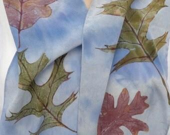 silk crepe scarf Oak Leaf blue sky clouds rust brown unique long hand painted wearable art women