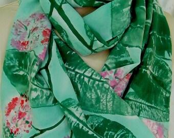 Silk crepe scarf Milkweed Jade Pink large long hand painted luxury unique wearable art