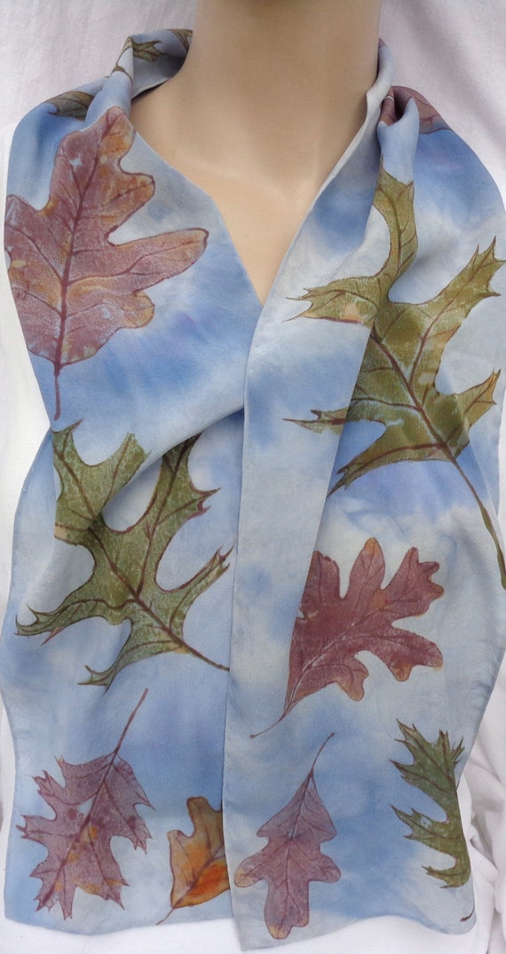 silk crepe scarf Oak Leaf blue sky clouds rust brown unique long hand painted wearable art women