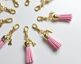 SALE suede tassel zipper charm -- pink ribbon breast cancer awareness