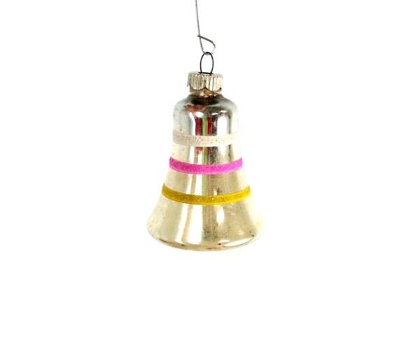 Vintage shiny brite silver bell ornament mercury glass