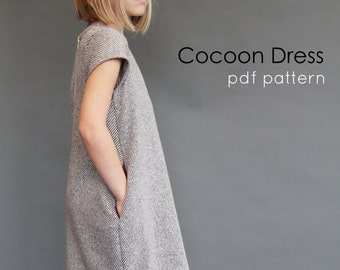 Sample SALE Cocoon dress 7 ready to ship jumper fall grey wool 7y