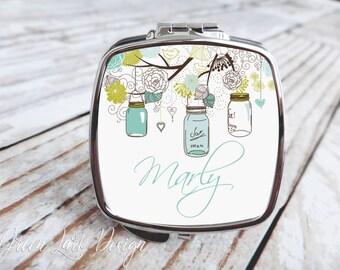 Bridesmaids Gift - Compact Mirror - Mason Jars in Blue Green