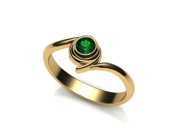 Kokiri Emerald Engagement Ring, in 14k Gold - Geeky Ring, Legend of Zelda, Forest Temple, Ocarina of Time