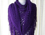EGGPLANT Hand Knit Shawl Triangle Scarf Fringes in Anti Pill Acrylic / PURPLE AUBERGINE shawl