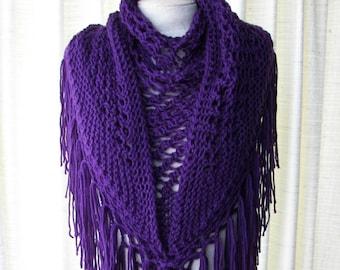 EGGPLANT Hand Knit Shawl Triangle Scarf Fringes in Anti Pill Acrylic / PURPLE AUBERGINE shawl