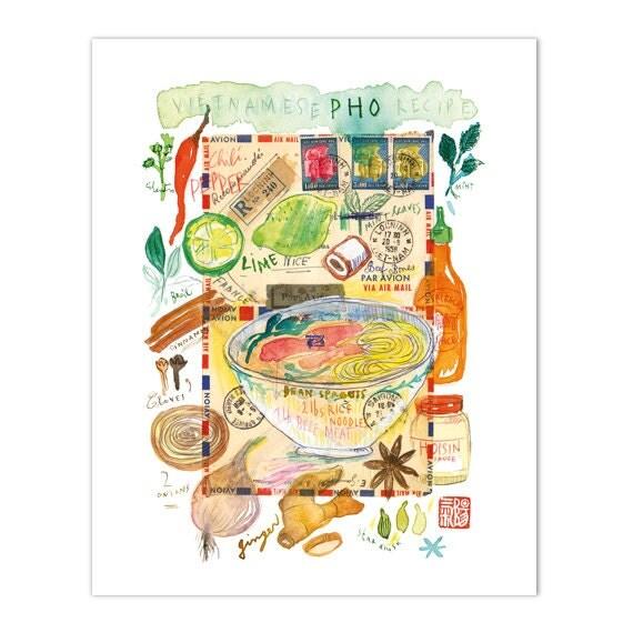 Vietnamese Pho Recipe Print Kitchen Art Print By