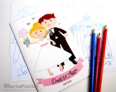 6 Wedding Coloring Books, Children's Activity Booklet , Personalized Party Favors, Bride Groom Coloring Book  A1249
