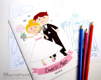 6 wedding coloring books childrens activity booklet personalized party favors bride groom coloring - Personalized Wedding Coloring Book