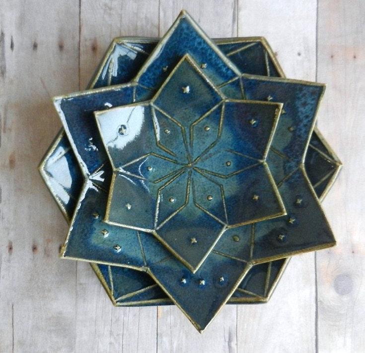 Ceramic Bowl Set Mandala 3 Dish Pottery Flower Of Life