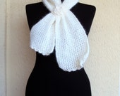 Sale! Knit Scarf Cowl Ivory Neckwarmer with Glitter and Crochet Flower Scarflette Gift For Her    Valentine's Day Gift