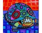 65% Off- Turtle Folk Art Ceramic Tile  Animal Tile Coaster  Modern Unique Gift Colorful Coaster Modern Art (HG825)